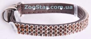 Комплект Ошейник Коричневый Со Стразами - 22 см + поводок