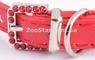 Комплект Ошейник Красный Со Стразами - 22 см + поводок
