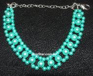 """Ожерелье жемчужное трехрядное  """"Волшебство"""" зеленое"""