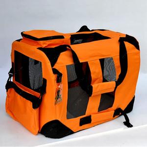 Переноска каркасная-складная нейлон Оранжевая, размер 4 Lux