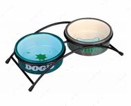 Подставка с двумя керамическими мисками Eat on Feet Ceramic Bowl Set