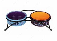 Подставка с двумя керамическими мисками для кошек Eat on Feet Ceramic Bowl Set