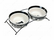 Подставка с двумя керамическими мисками для собак Eat on Feet Ceramic Bowl Set