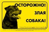Предупреждающая надпись ОСТОРОЖНО, ЗЛАЯ СОБАКА, ротвейлер