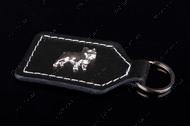 """""""FRENCH BULLDOG"""" кожаный брелок для ключей с эмблемой французкого бульдога, никель"""