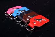 """""""BULL TERRIER"""" кожаный брелок для ключей с эмблемой бультерьера, никель"""