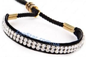 """Ринговка черная с расширителем украшенным кристаллами, модель """"Glamour"""""""