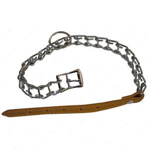 Ошейник цепочка с кожаным ремешком для собак CROCI