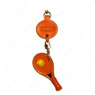 ТЕННИСНАЯ РАКЕТКА, 3D брелок на ключи, натуральная кожа - 2,5х2,5х1см.