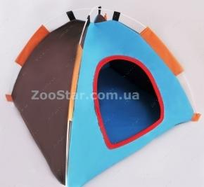 Тентовая средняя голубая с коричневым