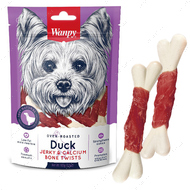 Лакомство для собак косточки с вяленой уткой и кальцием Wanpy Duck Jerky & Calcium Bone Twists