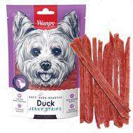 Лакомство для собак тонкие полоски вяленого утиного филе Wanpy Soft Duck Jerky Strips