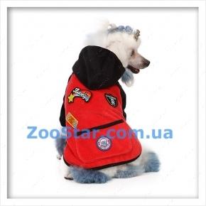Велюровое пальто красно-черное