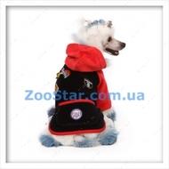 Велюровое пальто черно-красное