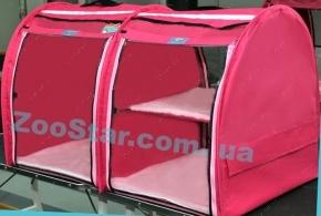 Выставочная палатка для кошек, собак Модуль Двойка Малиновая